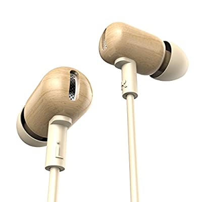 Flymemo DZAT-DF10 Maple Shiraki Wood Stereo Earbuds In Ear Earphones with Microphone and Remote, Full-range Balance Headphones