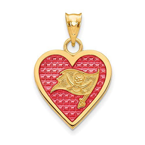 Kira Riley Gold Plated Tampa Bay Buccaneers Enameled Heart Pendant (Tampa Bay Buccaneers Gold Plated)