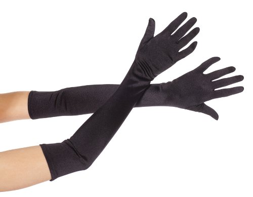 MUSIC (Black Extra Long Satin Gloves)