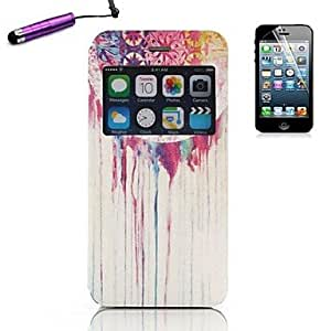 TOPQQ Colorful Ink Pattern Open the Window PU Leather Full Body with Stylus for iPhone Plus