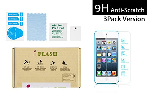 iFlash® 3 Pack of Premium Tempered Glass Screen Protector For Apple iPod Touch 5th Generation - Transparent Crystal Clear / 2.5D Rounded Edges / 9H Hardness / Scratch Proof / Bubble Free / Oleophobic Coating / 0.3mm Thickness (3Pack, Retail (Apple Ipod Touch Crystal)