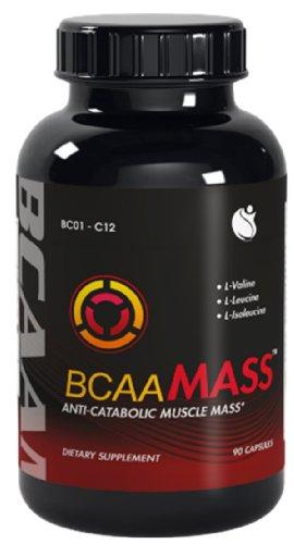 BCAA Mass aminés à chaîne ramifiée acides L-leucine L-isoleucine L-valine Ratio BCAA 04:01:01 90 Capsules 1 Bouteille
