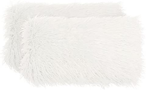 Boho Living Mongolian Faux Fur 2 Piece Decorative Lumbar Pillow Set, 14 x 24 , White