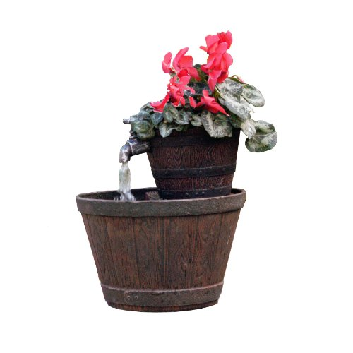 Exaco FM-0200 Endura Clay Whiskey Barrel Planter Fountain