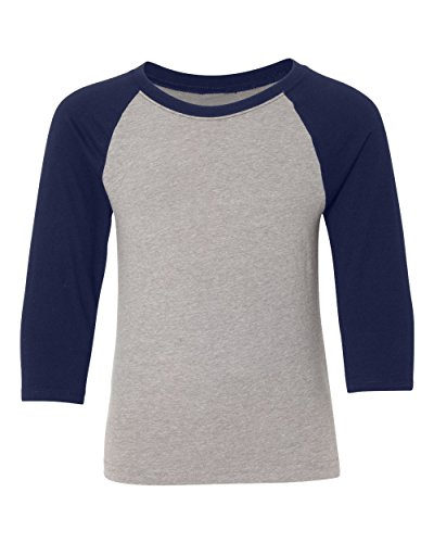 Kamal Ohava Youth Premium 3/4 Sleeve Baseball T-Shirt, L, Midnight Navy/Dk Grey