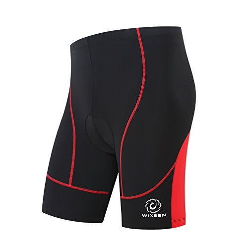 WINSEN Cycling Shorts Men's 3D 8 Panel Gel Padded- Breathable,Lightweight,Outdoor Sports Bike Shorts Half Pants£¬Reflective Trademark Design-Night Safe Colour Cycling-Black and Red (Large) Review