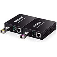 A pair of 10/100/1000M Gigabit Ethernet Media Converter with RJ45 to SFP Port, a pair of 120km BiDi SFP ZX Transceiver included