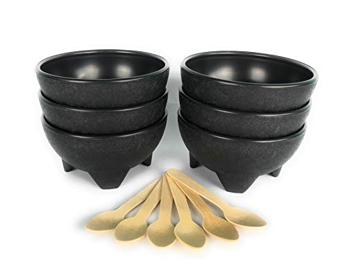 Molcajete Black - Salsa Bowls, Black Plastic Mexican Molcajete Chips Guacamole, Serving Dish, Sauce Cup, Side dish, Snack, Chips, Dip, Nuts or Candy. Great for any event. (6)