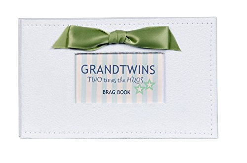 The Grandparent Gift Grand Twins Photo Album, White, Green The Grandparent Gift Co. 3414