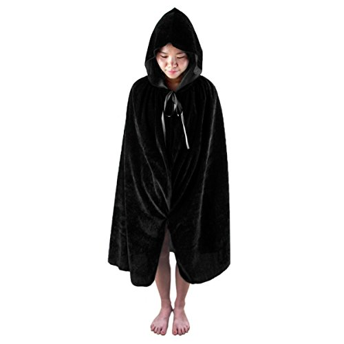 "Samtree Christmas Halloween Costumes Cape for Kids,Velvet Hooded Cosplay Party Cloak (L(Length:39.4""),Black)"