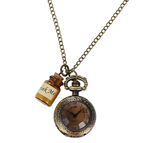 Uarter Vintage Drink Me Pocket Watch Necklace Quartz Watch Alice in Wonderland (Vintage Necklace Watch)