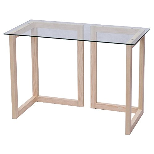 - Tempered Glass Top Console Laptop Notebook Study Writing Desk Sofa Accent Coffee Tea Multi-Functional Table Durable Sturdy Maple Wood Construction Home Living Room Entryway Modern Furniture