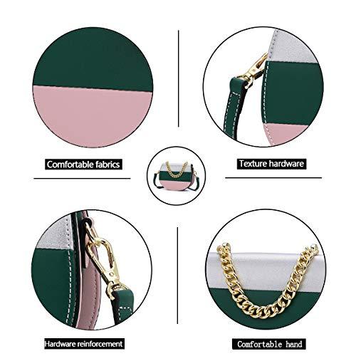Couleur Selle Tisdaini Femme Vert de Bandoulière Large Rayure Sac Contraste awwFUHqdx