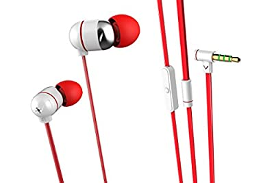 Aleratec TunePhonik iXR5 Stereo In-Ear Headphones with Microphone Premium Headset (White/Red)