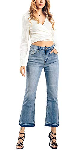 Chartou Womens Chic Floral Embroidered High-Rise Bell Bottom Flare Jeans Broad Feet Long Denim Pants (Blue3, X-Large)