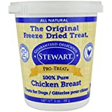 Stewart Freeze Dried Chicken Breast Dog Treats, Grain Free, All Natural, Made in USA by Pro-Treat, 3 oz., Resealable Tub