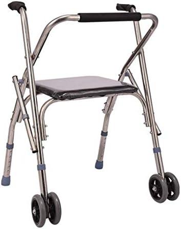 ステンレス鋼の歩行補助具軽量の折りたたみ式の古いウォーカー、ホイールとシート付き調節可能なハンドル、高齢者用のウォーキングチェア、高齢者用の調節可能なアームレスト、高齢者用の歩行補助器具