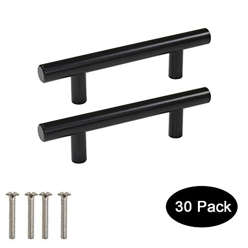 30 Pack Probrico Black Stainless Steel Kitchen Cabinet Door Handles T Bar Drawer Pulls Knobs Diameter 1/2 inch Hole Centers:3inch-5inch Length