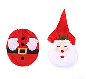 3pcs/set Christmas Santa Claus Home bathroom decor Toilet Cover,Footpad,Water Tank Cover+Paper Towel Cover ZY