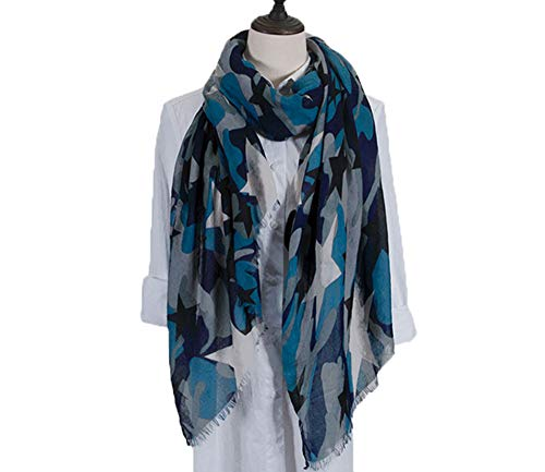 Lakkio Womens Scarf Soft Scarf for Women Camouflage Printed Star Printed Scarf Fashion Long Scarf for Holiday Gift