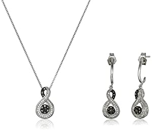 Sterling Silver Black and White Diamond Infinity Pendant Necklace and Earrings Box Set (1/4 cttw), 18