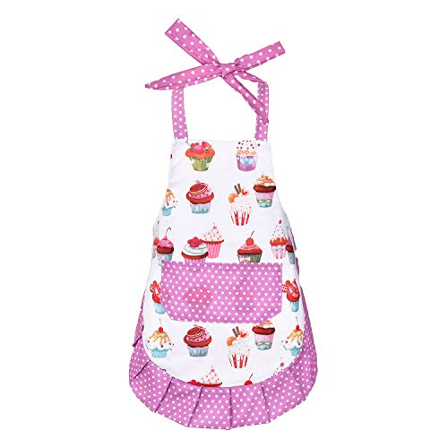 Sevenstars Kids Girls Cupcake Apron Cute Baking Apron with Pocket, Adjustable Kitchen Apron for Daughters Gardening Craft ()