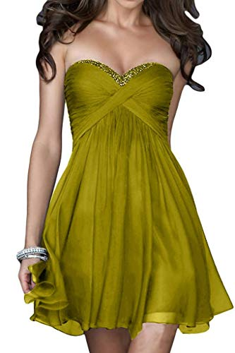 Cocktailkleider Chiffon mia Geraft Brautjungfernkleider La Olive Braut Promkleider Gruen Partykleider Mini Traegerlos CqBaxXOw