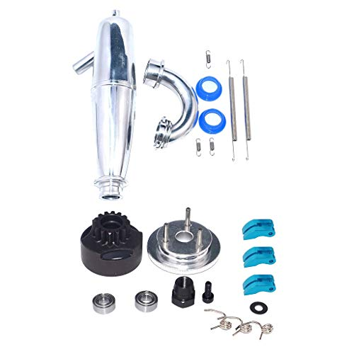 Fenteer 14T Gear Flywheel Assembly Bearing Clutch Bell Shoes Nut Springs+Exhaust Pipe Tubing for HSP Bobao HPI SH Truck 1/8 RC Car: Amazon.co.uk: Toys & Games