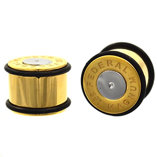 (Pair of Gold IP Plated Steel Bullet Ear Plugs No Flare Gauges w/Black O-Rings - 9/16