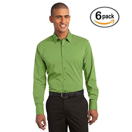 Custom Embroidered Port Authority Lg Green Stretch Poplin Shirt   Pack Of 6