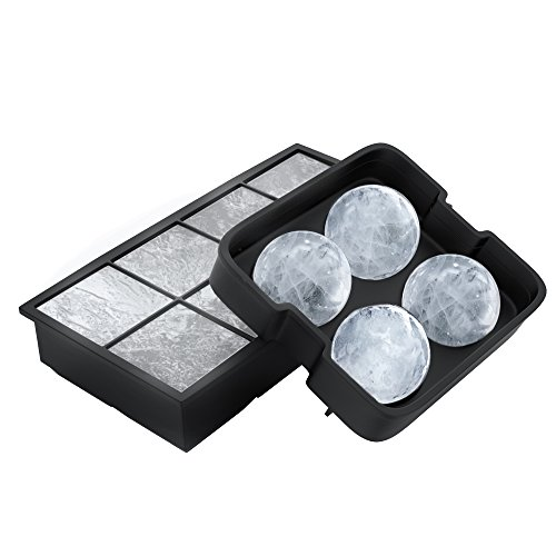 Ice Cube Tray- Silicone Slow Melting Ice Ball Mold for Whiskey, Square Ice Cube Maker, or Shape Frozen Fruit with Easy Release by Chef Buddy (2 Pack) (Buddy Chef)