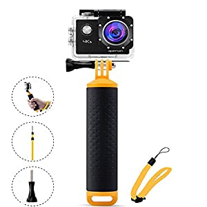 Floating Hand Grip for GoPro Hero5 4 Session/hero4/3+/3/2/1 and other Action Camera - EREACH Handle Grip & Handle Free Mount Accessories Kit & Water Sport Pole for Sport Camera (yellow)