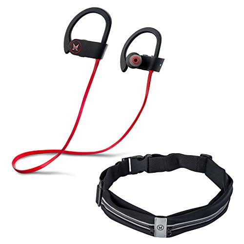 Bluetooth Wireless Headphones + BONUS Flipbelt- Mens & Womens Running Belt, IPX7 Waterproof Earhook Runner Headset with Mic + Fanny Pack, Perfect for Running Gym Workout.