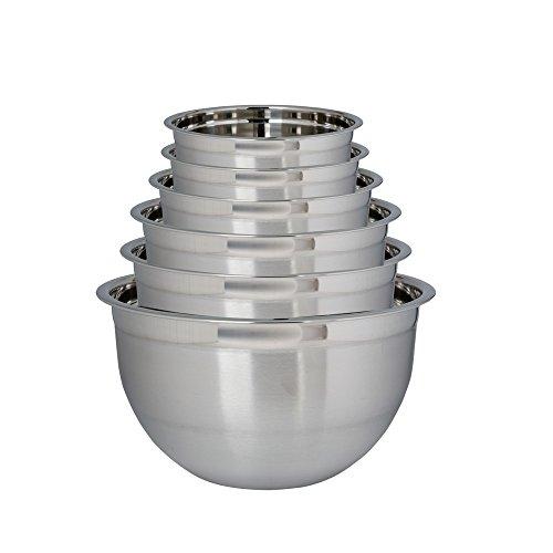 Kosma Set of 6 Stainless Steel Deep Mixing Bowls | Salad Bowl - 14cm, 18cm, 22cm, 24cm, 26cm & 30cm (0.75 Litre, 1.5 LItre, 3 Litre, 4 Litre, 5 Litre, 8 Litre) (Cm 18 Bowl)