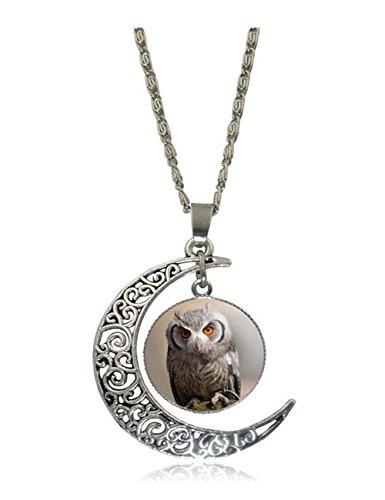 Darkey Wang Woman Fashion Owl Moon Time Gemstone Retro Necklace(2#)
