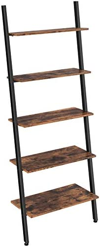 VASAGLE Alinru Ladder Shelf Leaning Shelf, 5-Tier Bookshelf Rack, for Living Room Kitchen Office, Stable Steel, Industrial Furniture , Rustic Brown ULLS46BX