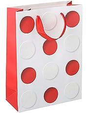 حقيبة هدايا بطبعة دوائر، احمر ابيض
