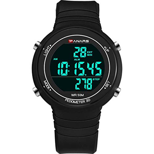 (XBKPLO Digital Watch for Mens, Sport Multifunction Waterproof Pedometer Analog Wrist LED Luminous Alarm Clock Watches Concise Silicone Strap)