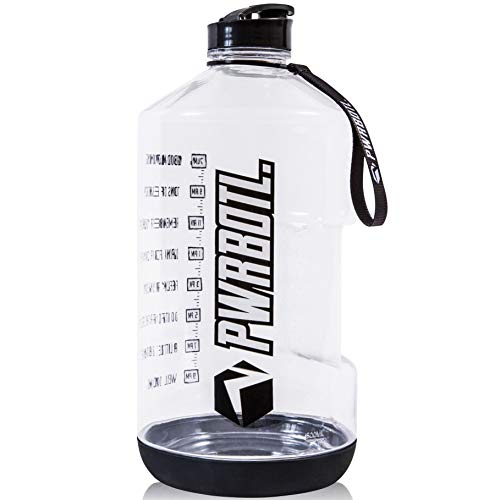 PWRBOTL 1 Gallon Water Bottle with Time Marker and Silicone Bottom for Ultimate Drop Protection | BPA Free | Leakproof Flip Top | Drink More Water from This Large Water Bottle/Gallon Water Jug! ()