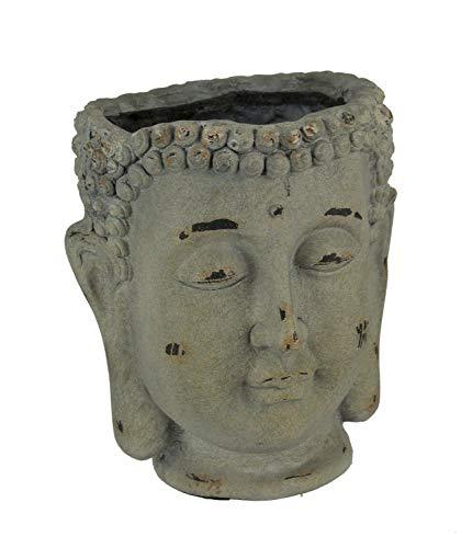 (Antique Grey Stone Finish Buddha Head Planter)