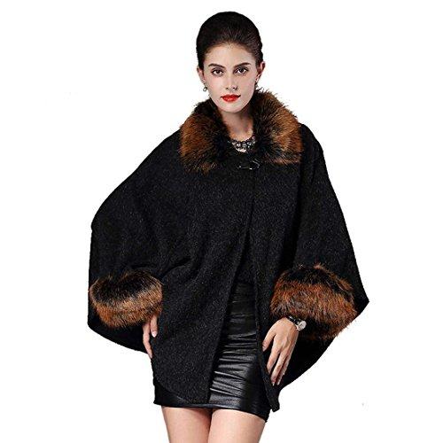 Imbottita Cardigan Vintage Moda Giacche Monocromo Outerwear Donna Eleganti Pipistrello Giacca Inverno Asimmetrica Ecopelliccia Schwarz Pelliccia Irregular Manica 1q6wX