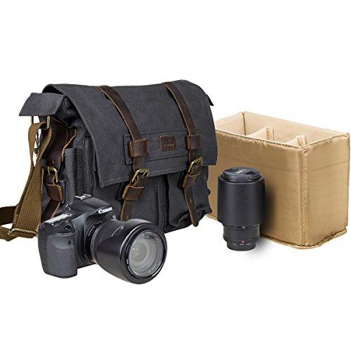s Camera Bag DSLR SLR Messenger Bag Leather Shoulder Satchel with Camera Insert for Men and Women ()