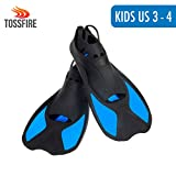 Swimming Fins Kids Short Diving Fins Training for Children Boy Girl US size Kids 1-2 Width Ankle 2.5' with Thermoplastic Rubber Pool Flipper for Diving Snorkeling Watersport, Blue