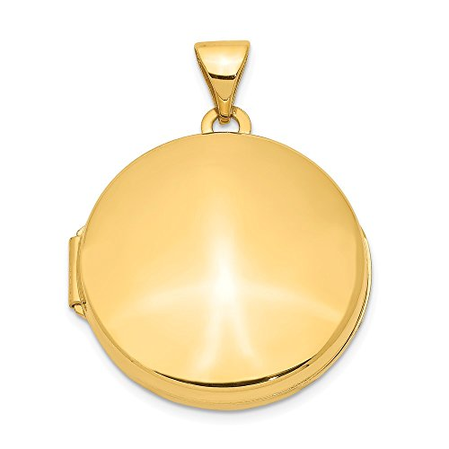 14k Yellow Gold 20mm Round Domed Photo Pendant Charm Locket Chain Necklace That Holds Pictures Shaped Fine Jewelry Gifts For Women For Her ()