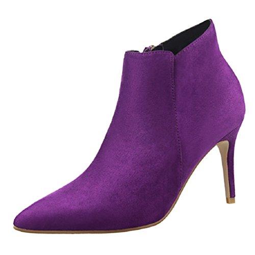 HooH Women's Pointed Toe Retro Simple Stiletto Ankle Boots Purple
