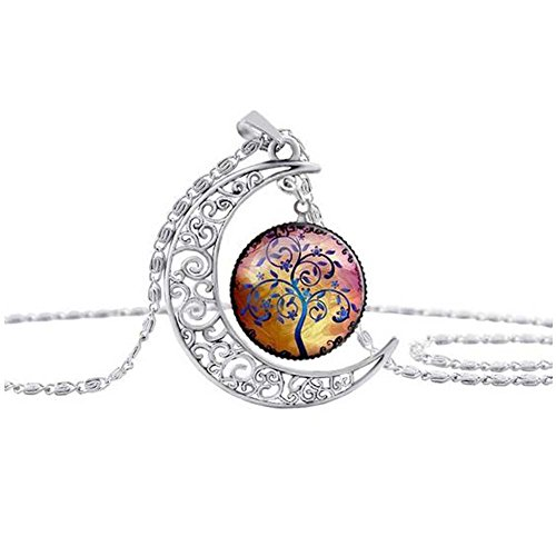 GERGER BO Women's Tree of Life Moon Hollow Carved Gemstone Necklace Sweater Chain - Mail Track Canada