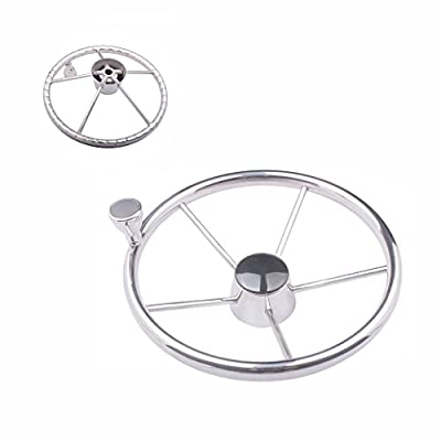 5-spoke Destroyer Style 316 Stainless Boat Steering Wheel with Small Knob -13-1/2 Inch