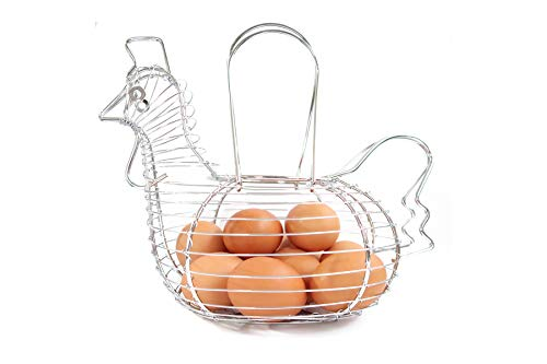 Chrome Steel Wired Egg Basket with Handle, Holds 15-20 Eggs, Medium Size