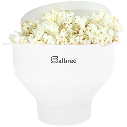 The Original Salbree Microwave Popcorn Popper, Silicone Popcorn Maker, Collapsible Bowl BPA Free - 14 Colors Available (White) ()