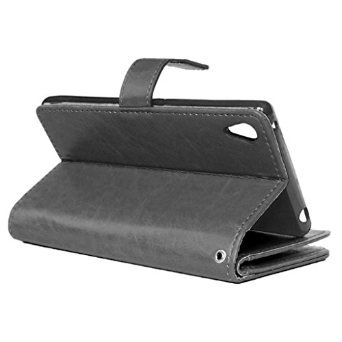 UBMSA-Neue Luxus-Leder-Mappen-Schlag-Standplatz-Fall-Abdeckung Taschen and Schalen f¨¹r Sony Mobile Xperia Z4 [Eingebaute 9 Kreditkarten Slots]